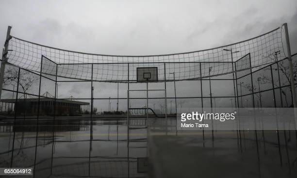 A net hangs in the mostly abandoned Olympic Park on March 18 2017 in Rio de Janeiro Brazil Seven months after the Rio hosted the first Olympic games...