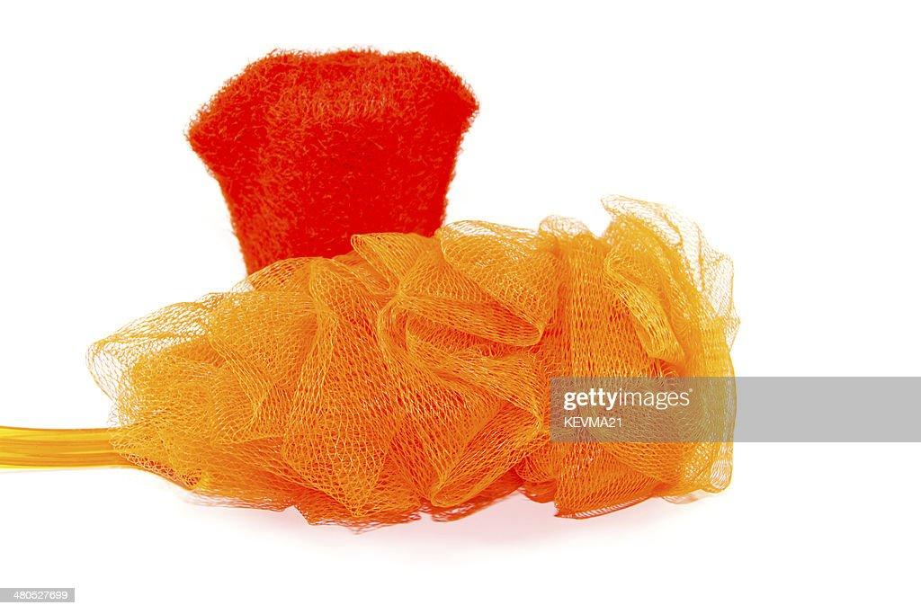 Netto-Schwamm mit rot-Handschuh : Stock-Foto