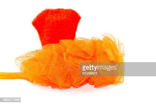 Net Sponge with  Red Massage Glove : Bildbanksbilder