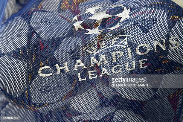 A net with the official ball and the UEFA logo is seen prior to the first leg UEFA Champions League Group E football match FC Bayern Munchen v...