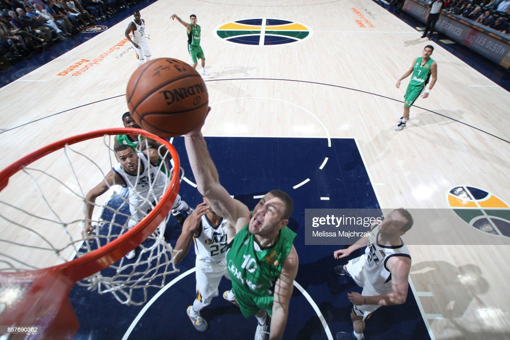 Netanel Artzi #10 of the Maccabi Haifa goes up for a dunk against the Utah Jazz during a preseason game on October 4, 2017 at vivint.SmartHome Arena in Salt Lake City, Utah.