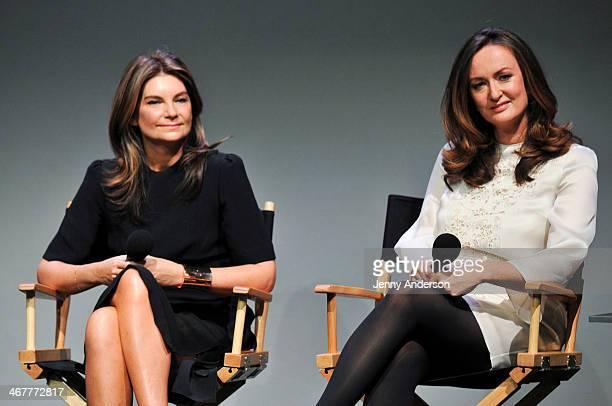 NetaPorter Group founder Natalie Massenet and EditorinChief of Porter magazine Lucy Yeomans attend Apple Store Soho on February 7 2014 in New York...