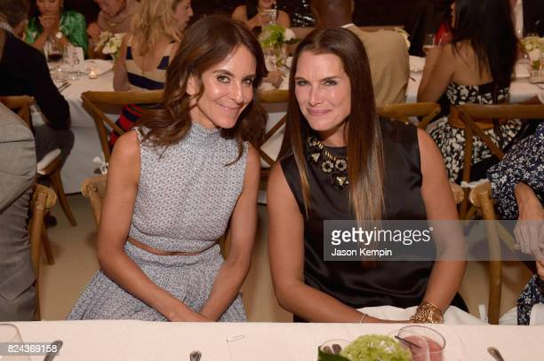 NetAPorter President Alison Loehnis and Brooke Shields attend The GOOD Foundation's Hamptons Summer Dinner cohosted by NETAPORTER on July 29 2017 in...