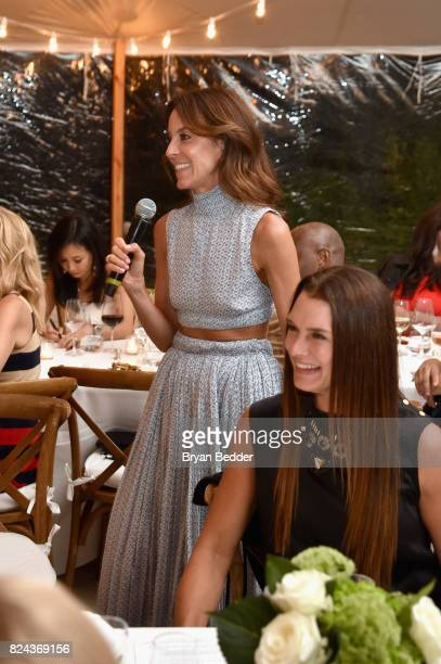 NetAPorter President Alison Loehnis speaks to guests during The GOOD Foundation's Hamptons Summer Dinner cohosted by NETAPORTER on July 29 2017 in...