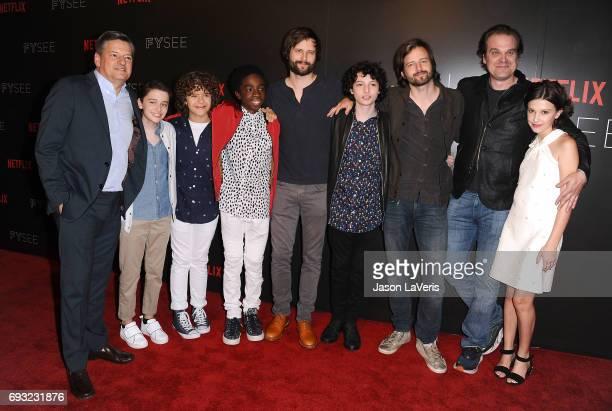 Netflix CCO Ted Sarandos Noah Schnapp Gaten Matarazzo Caleb McLaughlin writer/producer Matt Duffer Finn Wolfhard writer/producer Ross Duffer David...