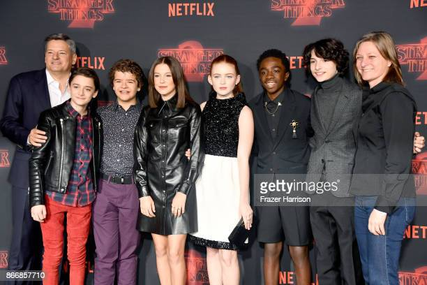 Netflix CCO Ted Sarandos Noah Schnapp Gaten Matarazzo Millie Bobby Brown Sadie Sink Caleb McLaughlin Finn Wolfhard and VP Original Series Netflix...