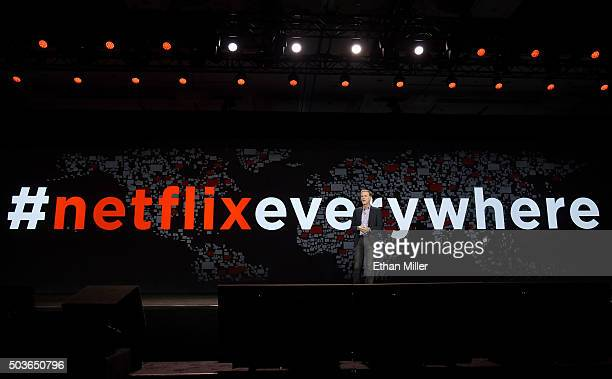 Netflix CEO Reed Hastings delivers a keynote address at CES 2016 at The Venetian Las Vegas on January 6 2016 in Las Vegas Nevada CES the world's...