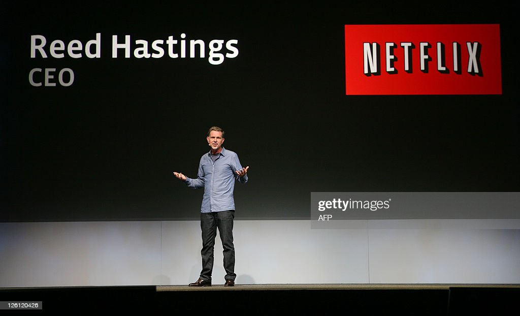 Netflix CEO Reed Hastings joins a keynote of the Facebook f8 Developer Conference to announce Netflix's partnership with Facebook for the new application at the San Francisco Design Center in San Francisco on September 22, 2011 in California. AFP PHOTO / Kimihiro Hoshino
