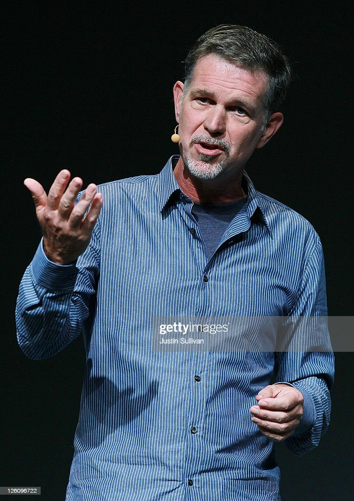 Netflix CEO Reed Hastings makes an appearance during a keynote address by Facebook CEO Mark Zuckerberg at the Facebook f8 conference on September 22, 2011 in San Francisco, California. Facebook CEO Mark Zuckerberg kicked off the conference introducing a Timeline feature to the popular social network.