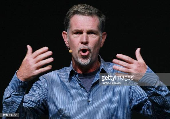Netflix CEO Reed Hastings makes an appearance during a keynote address by Facebook CEO Mark Zuckerberg at the Facebook f8 conference on September 22...