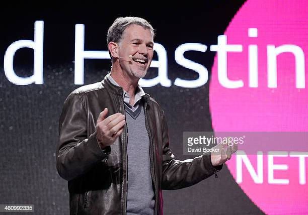 Netflix CEO Reed Hastings speaks during a LG press event at the Mandalay Bay Convention Center for the 2014 International CES on January 6 2014 in...