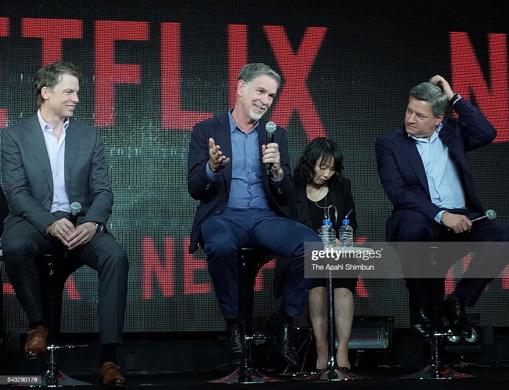 Netflix CEO <a gi-track='captionPersonalityLinkClicked' href=/galleries/search?phrase=Reed+Hastings&family=editorial&specificpeople=3798482 ng-click='$event.stopPropagation()'>Reed Hastings</a> (C) speaks during a press conference on June 27, 2016 in Tokyo, Japan.