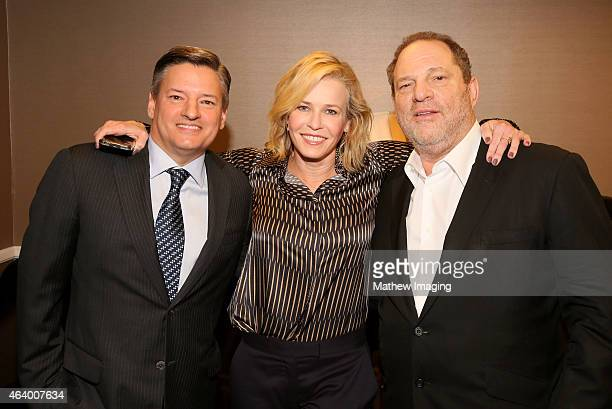 Netflix Chief Content Officer Ted Sarandos comedian Chelsea Handler and Harvey Weinstein pose backstage at the 52nd Annual ICG Publicists Awards at...