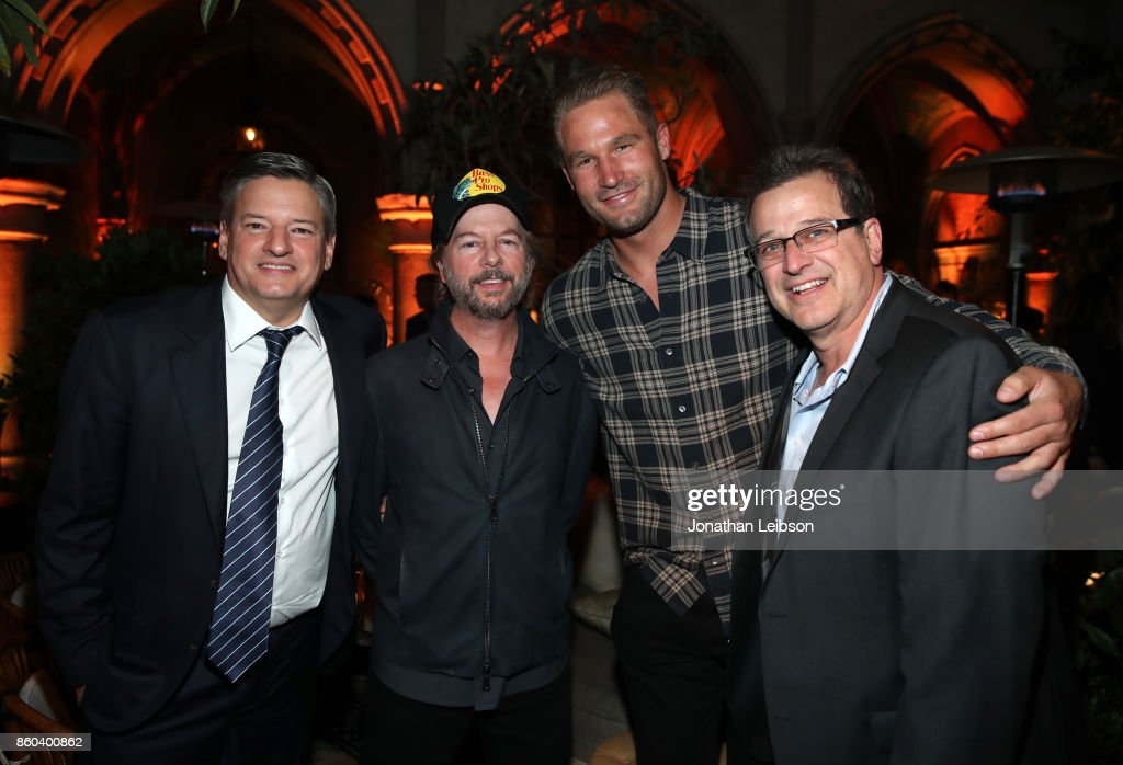 Netflix Chief Content Officer Ted Sarandos, David Spade, Allen Covert and guest at the after party for a special screening of The Meyerowitz Stories (New And Selected) at Chateau Marmont Theater on October 11, 2017 in Los Angeles, California.