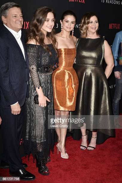 Netflix Chief Content Officer Ted Sarandos Katherine Langford Selena Gomez and Mandy Teefey attend the premiere of Netflix's '13 Reasons Why' at...