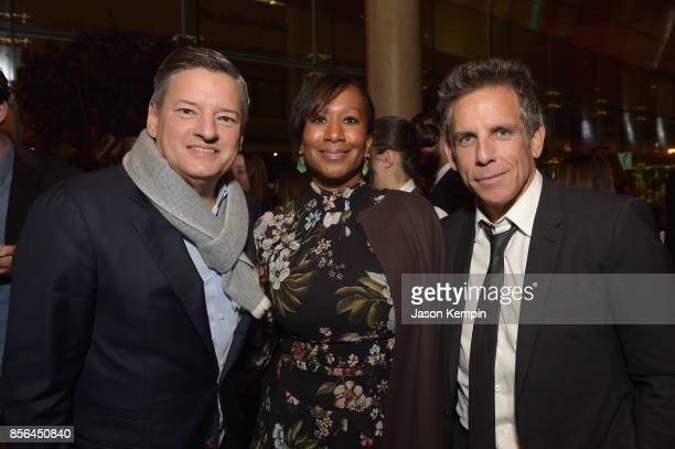 Netflix Chief Content Officer Ted Sarandos Nicole Avant and Ben Stiller attend the New York Film Festival screening of The Meyerowitz Stories at...