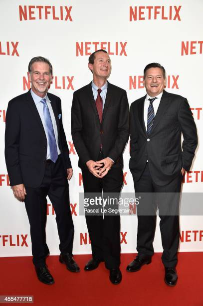 Netflix Co Founder and CEO Reed Hastings Netflix Chief Product Officer Neil Hunt and Netflix chief content officer Ted Sarandos attend the 'Netflix'...