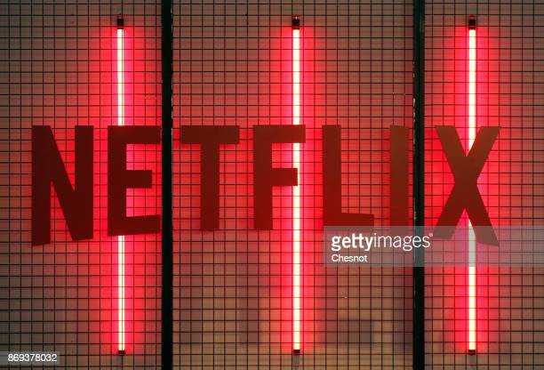 Netflix logo is displayed during the 'Paris Games Week' on November 02 2017 in Paris France Netflix is an American company offering streaming movies...