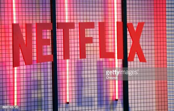 Netflix logo is displayed during the 'Paris Games Week' on October 31 2017 in Paris France 'Paris Games Week' is an international trade fair for...