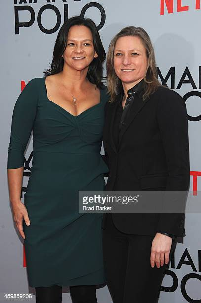 Netflix Vice President of Original Content Cindy Holland and a guest attend the 'Marco Polo' New York Series Premiere at AMC Lincoln Square Theater...