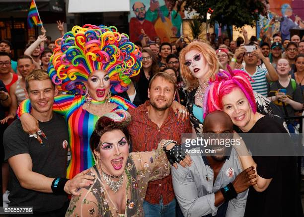 Netflix's Sense8 cast Brian J Smith Max Riemelt Toby Onwumere and Lana Wachowski attend Davie Street Block Party on August 4 2017 in Vancouver Canada