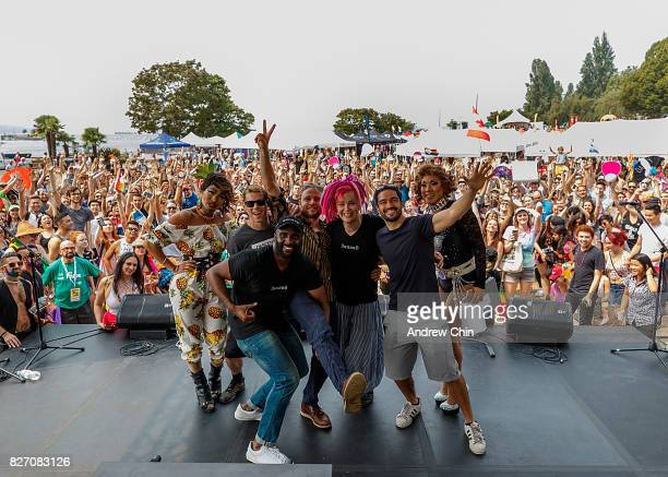 Netflix's Sense8 cast members Brian J Smith Toby Onwumere Max Riemelt Lana Wachowski and Alfonso Herrera attend Vancouver Pride Parade on August 6...
