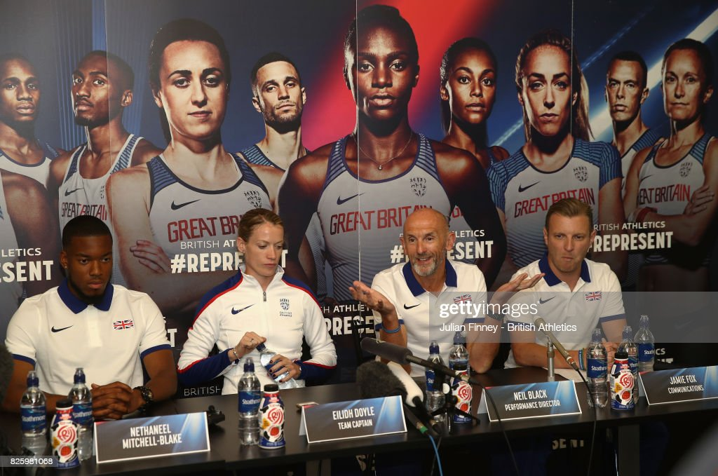 Nethaneel Mitchell-Blake, Eilidh Doyle and Neil Black talk to the media during previews for the 16th IAAF World Athletics Championships London 2017 at The London Stadium on August 3, 2017 in London, United Kingdom.