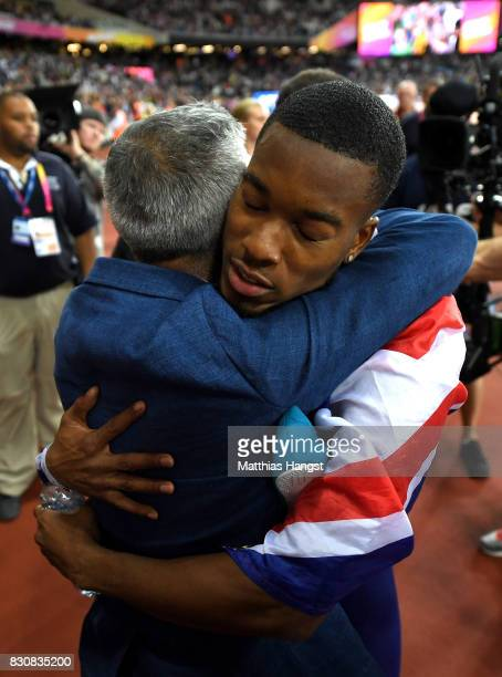 Nethaneel MitchellBlake of Great Britain celebrates with the Mayor of London Sadiq Khan after winning gold in the Men's 4x100 Relay final during day...