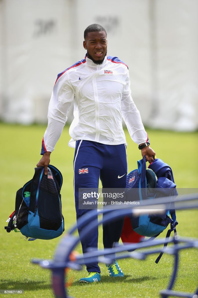 Nethaneel Mitchell-Blake of Great Britain looks on during preveiws for the 16th IAAF World Athletics Championships London 2017 at The London Stadium on August 3, 2017 in London, United Kingdom.