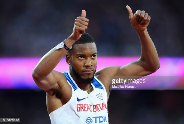 Nethaneel MitchellBlake of Great Britain reacts after competing in the Men's 200 metres heats during day four of the 16th IAAF World Athletics...