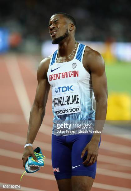 Nethaneel MitchellBlake of Great Britain reacts after the mens 200 metres final during day seven of the 16th IAAF World Athletics Championships...