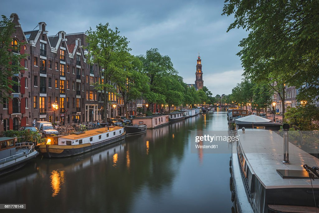 Netherlands, Amsterdam, Princes Canal and Westerkerk in the background