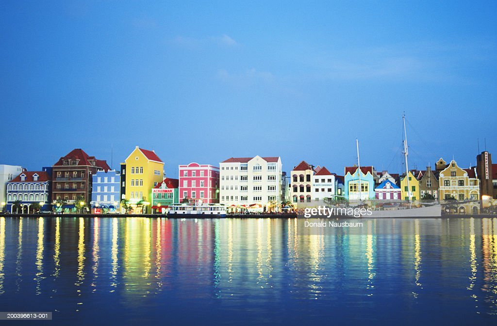 Netherlands Antilles, Curacao, Willemstad, painted buildings, dusk