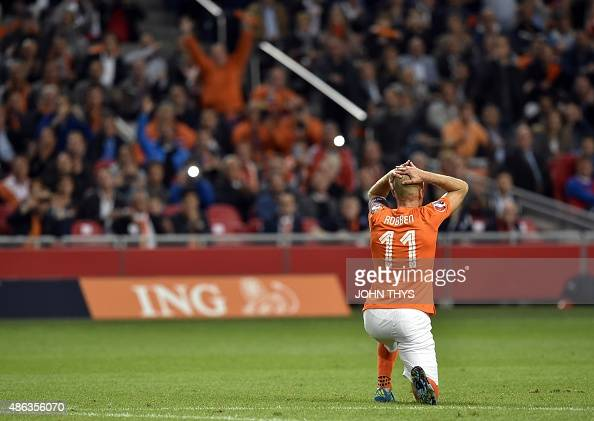 Netherlands Arjen Robben reacts during the UEFA Euro 2016 qualifying round football match between Netherlands and Iceland at the Arena Stadium on...