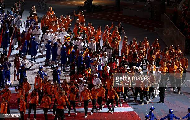 Netherlands athletes enter the stadium during the Closing Ceremony on Day 16 of the London 2012 Olympic Games at Olympic Stadium on August 12 2012 in...