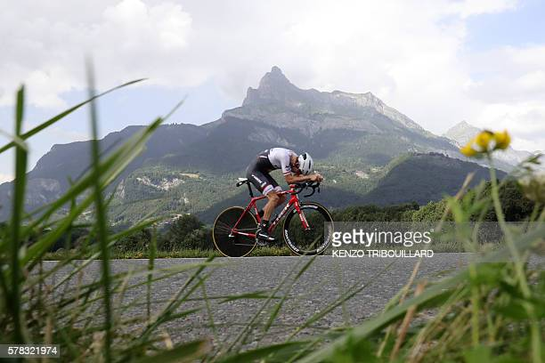 Netherlands' Bauke Mollema rides during the 17 km individual timetrial the eighteenth stage of the 103rd edition of the Tour de France cycling race...
