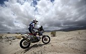 TOPSHOT Netherlands' biker Jurgen Van Den Goorbergh powers his KTM during the Stage 10 of the Rally Dakar 2016 between Belen and La Rioja Argentina...