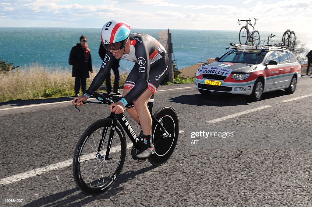 Netherland's Bob Jungels competes during the second stage, a 24km individual time trial, of the 40th edition of the Tour Mediterraneen cycling race from Cap d'Agde to Sete on February 7, 2013 in Sete, southern France. Netherland's Lars Boom won the stage and leads the race.