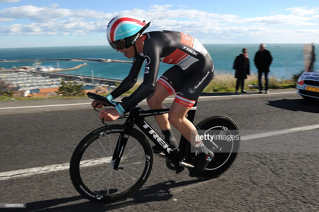 Netherland's Bob Jungels competes during the second stage, a 24km individual time trial, of the 40th edition of the Tour Mediterraneen cycling race from Cap d'Agde to Sete on February 7, 2013 in Sete, southern France. Netherland's Lars Boom won the stage and leads the race. AFP PHOTO / SYLVAIN THOMAS
