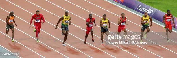 Netherlands' Churandy Martina USA's Ryan Bailey Jamaica's Usain Bolt USA's Justin Gatlin Jamaica's Yohan Blake USA's Tyson Gay Jamaica's Asafa Powell...
