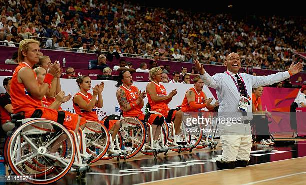 Netherlands coach Gertjan van der Linden during the Women's Wheelchair Basketball Bronze Medal match between USA and Netherlands on day 9 of the...