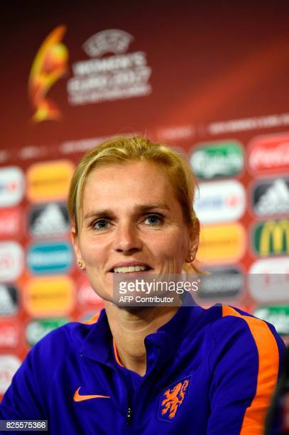Netherlands' coach Sarina Wiegman attends a press conference in Enschede on August 2 on the eve of the UEFA Women's Euro 2017 football match between...