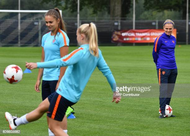 Netherlands' coach Sarina Wiegman looks on during a training session in the eve of the UEFA Women's Euro 2017 football tournament final match against...