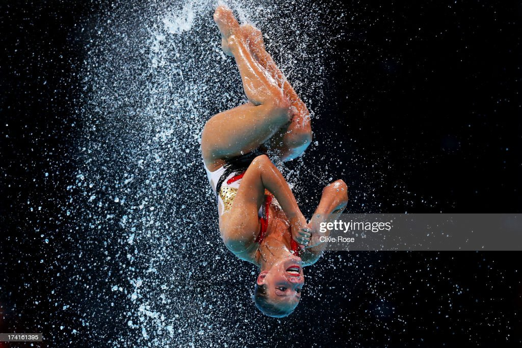 Netherlands compete in the Synchronized Swimming Free Combination preliminary round on day two of the 15th FINA World Championships at Palau Sant...