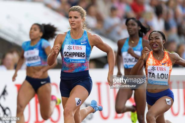 Netherlands' Dafne Schippers competes to win the women's 200m ahead of Ivory Coast's MarieJosee Ta Lou during the Diamond League athletics meeting...