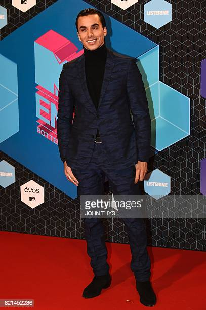 Netherlands' dancer Timor Steffens poses on the red carpet at the MTV Europe Music Awards on November 6 2016 at the Ahoy Rotterdam in Rotterdam / AFP...