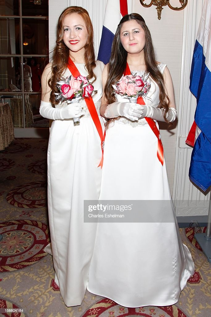 Netherlands debutantes Georgina Lara Booth and Natasha Emily Booth attend the 58th International Debutante Ball at The Waldorf-Astoriaon December 29, 2012 in New York City.