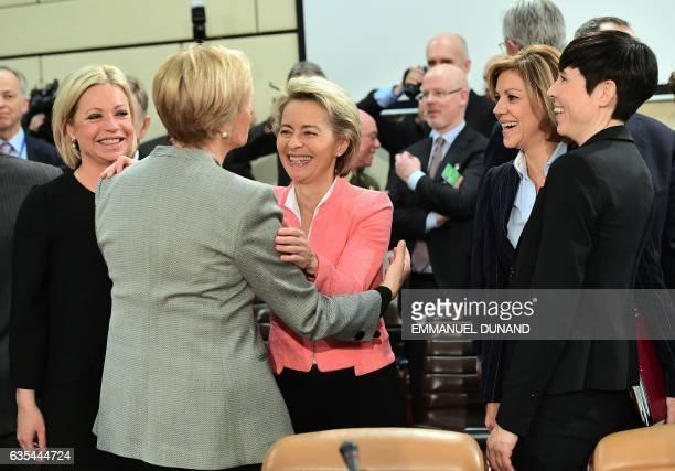 Netherlands' Defence Minister Jeanine HennisPlasschaert Italy's Defence Minister Roberta Pinotti Germany's Defence Minister Ursula von der Leyen...