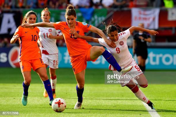 Netherlands' defender Dominique Janssen vies for the ball with Denmark's forward Nadia Nadim during the UEFA Womens Euro 2017 football tournament...