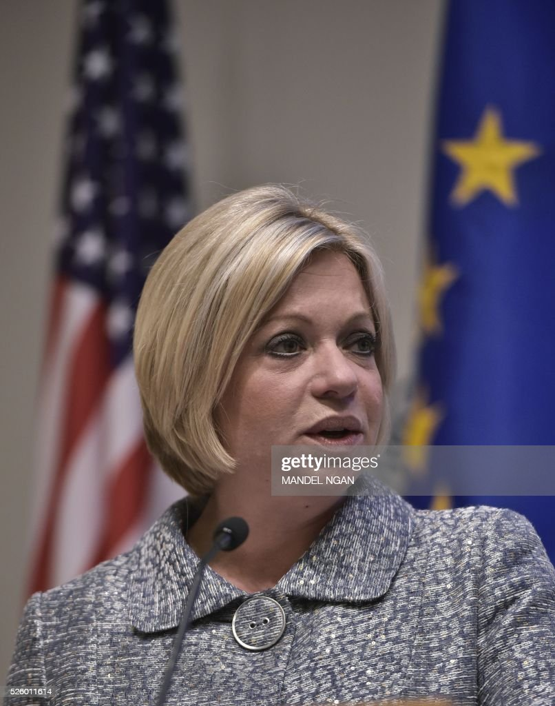 Netherlands Defense Minister Jeanine Hennis-Plasschaert speaks during the fifth annual Symposium on the EU's Common Security & Defense Policy at the US Institute of Peace in Washington, DC on April 29, 2016. / AFP / Mandel Ngan